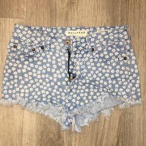 Flower Print Mid Rise Shorts